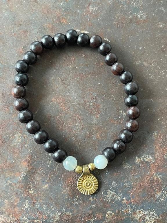 Armband Holzperlen Jade Element Messing