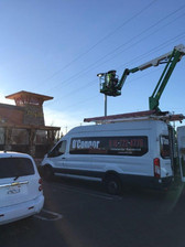 LED parking lot lighting at the new Lazy Dog in Roseville!