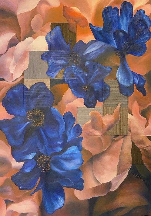 Reverie Series#16 Wooden Mosaic - Healing Sapphire by Rachel Sham