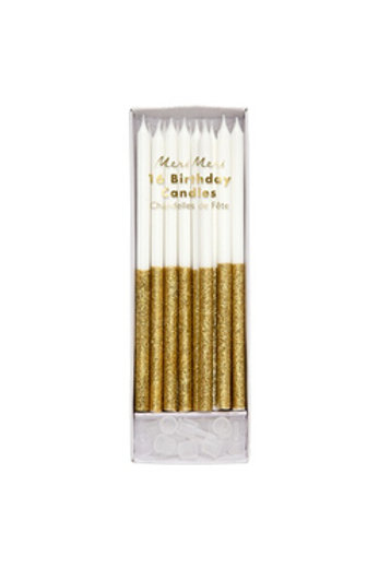 Candles Gold Glitter Dipped (set of 16)