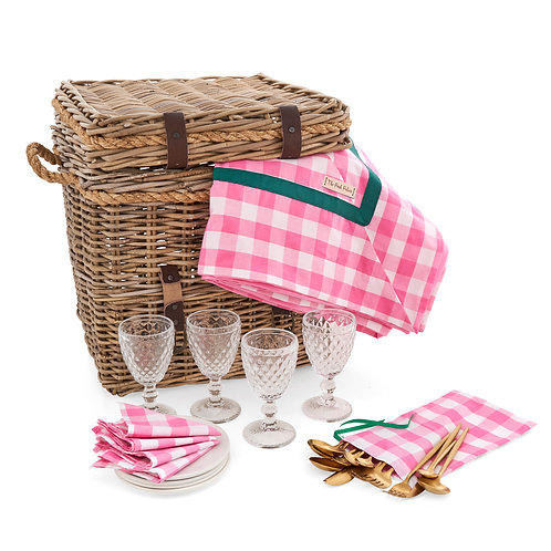 Picnic Chest with Pink Gingham Collection