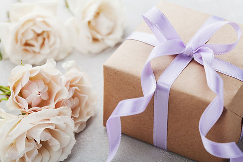 Vintage rose flowers and gift box with r