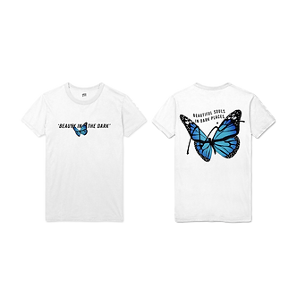 Merch. By: Kevv. 'Beauty In The Dark' Tee (White)