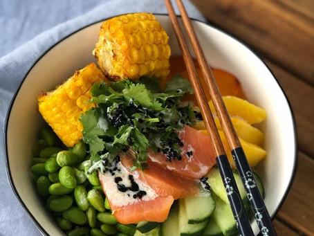 Grilled Corn & Salmon Bowl