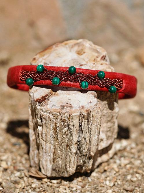 Malachite & Red Swedish Thread & Red Leather Bracelet