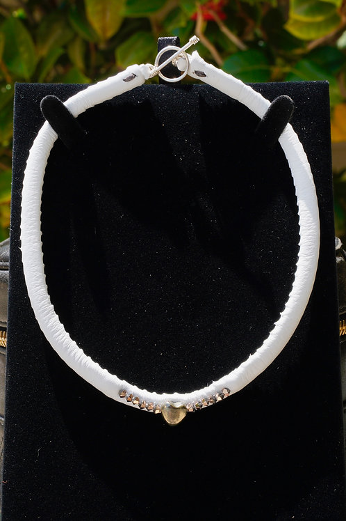 White Leather & Pyrite Heart & Rose Gold Swarovski Love Choker