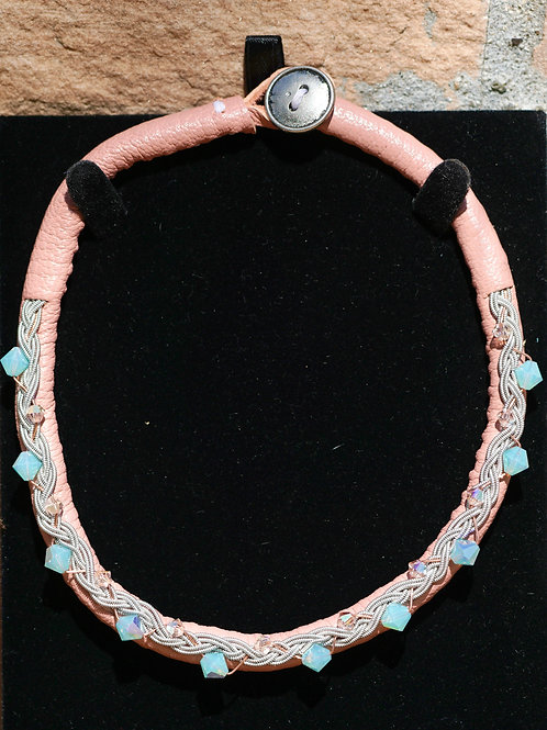 Pacific Opal Blue & Light Peach AB Swarovski & Millennial Pink Leather Choker