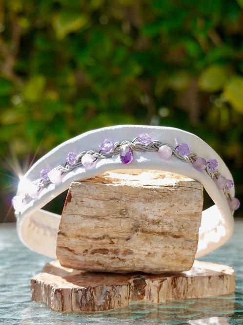 White Leather Amethyst Point & Amethyst & Purple Swarovski Choker
