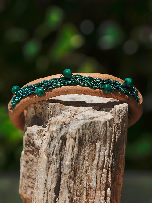 Malachite & Green Swedish Thread & Tan Leather Bracelet