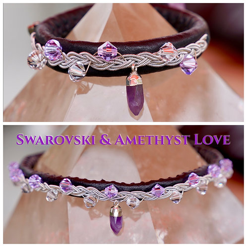 Choker & Bracelet Set Swarovski & Amethyst Love