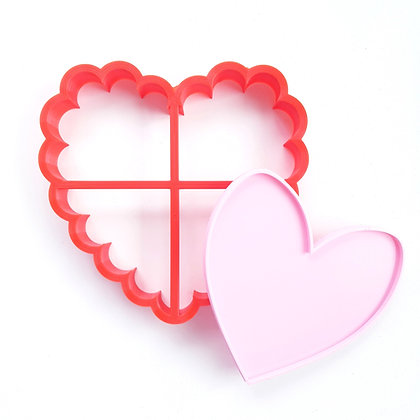 LARGE SCALLOPED HEART CUTTER WITH EMBOSSER