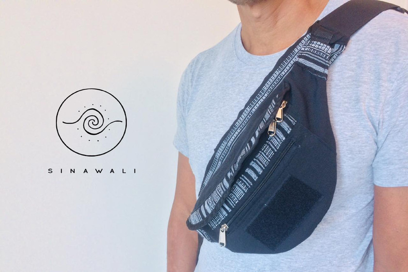 Sinawali crossbody bag with option to attach small stick bag that can hold 4-5 pairs of FMA rattan sticks, used in Filipino Martial Arts of Kali Arnis Escrima