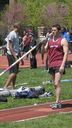 look of concentration while pole vaulting