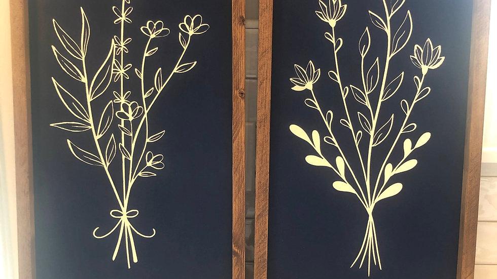 Floral Spray custom framed & painted Set