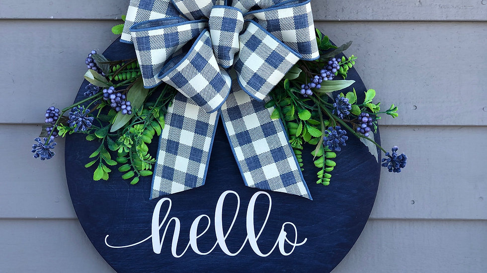 Hello hanging sign