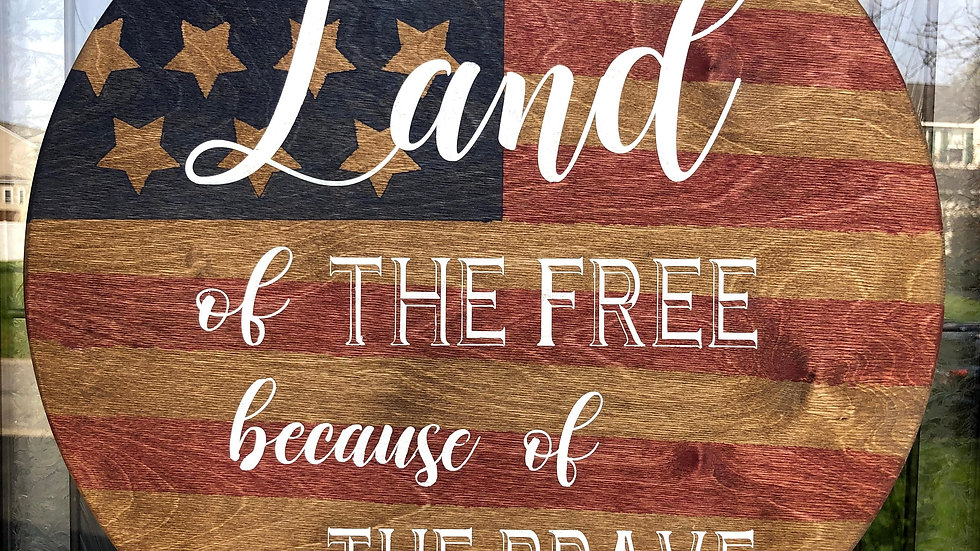 Stained Wood Flag Patriotic Hanging Sign