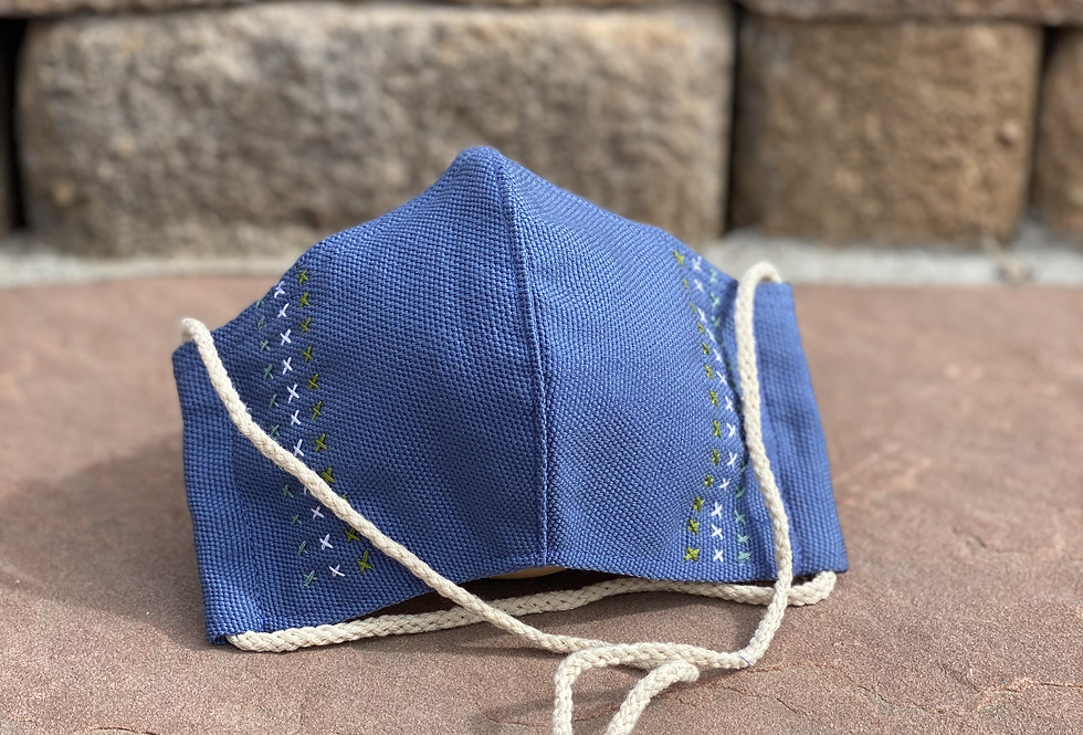 Blue Women/Teen Mask with colored embroidery