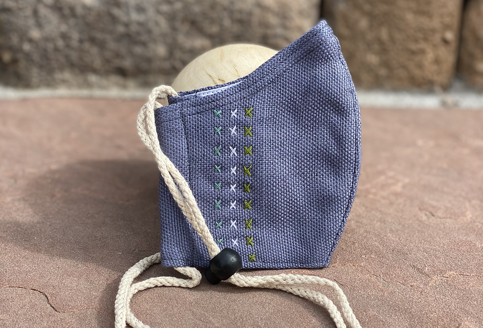 Dark Grey Women/Teen Mask with colored embroidery