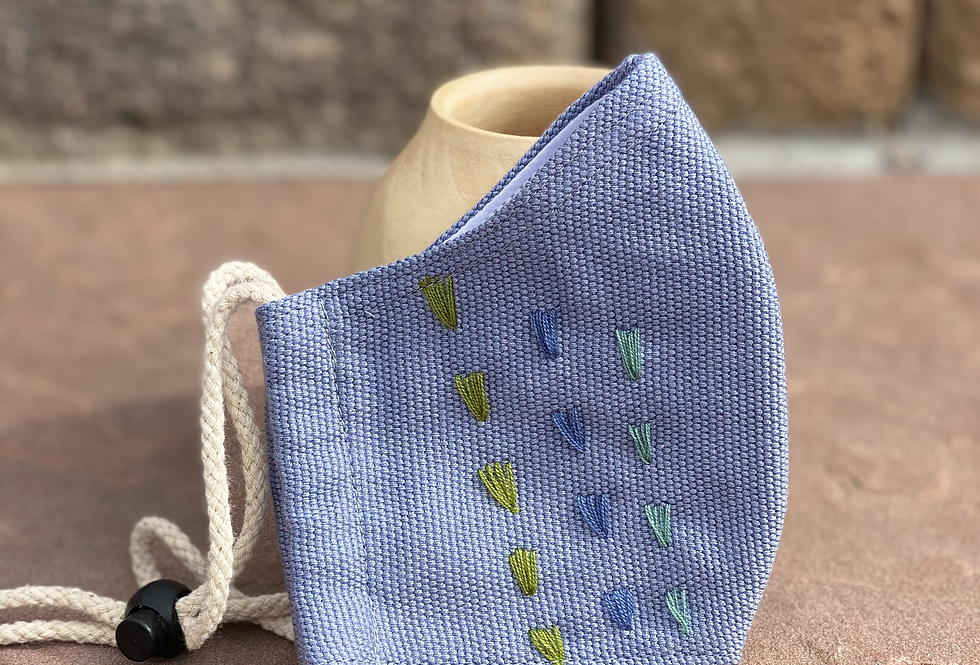 Light Grey Women/Teen Mask with colored embroidery