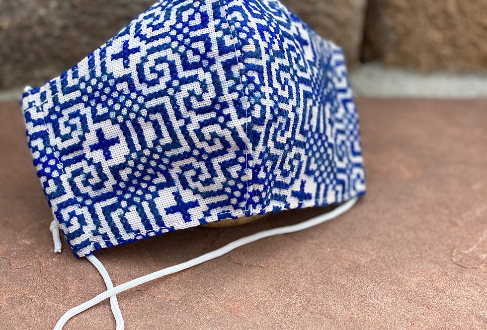 Blue Women/Teen Hmong Woven Mask