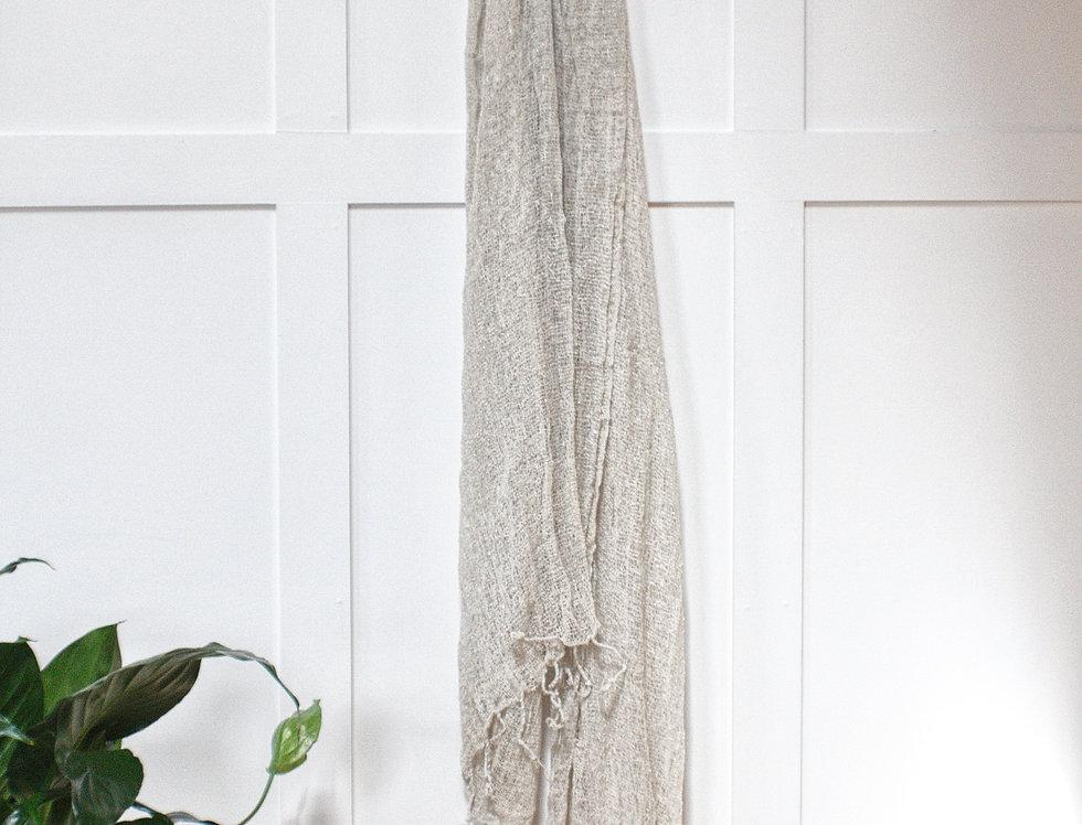 Handwoven Thai silk scarf - Sand