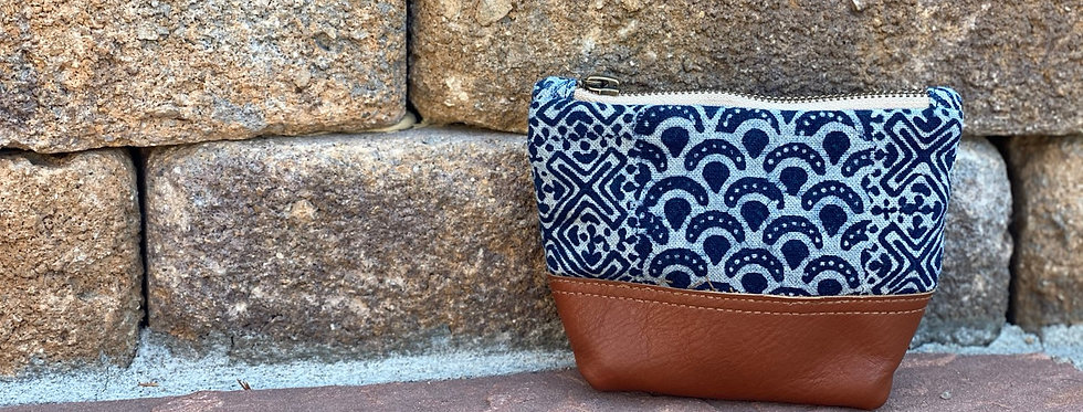 Hmong stamped cosmetic bag - small
