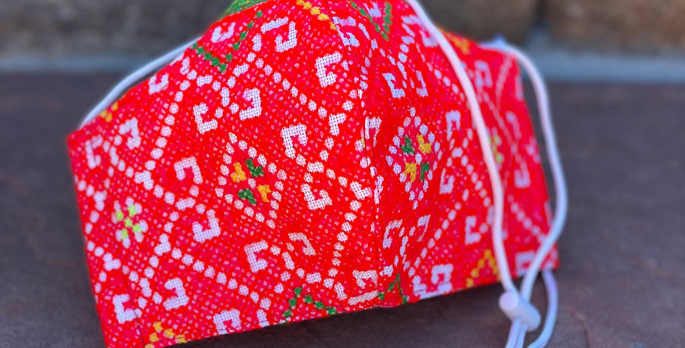 Red with Green Accent Women/Teen Hmong Woven Mask