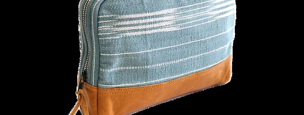 Large Cosmetic Bag - Teal Brushstrokes