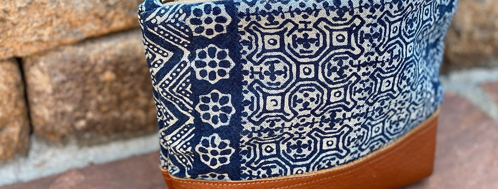 Hmong stamped cosmetic bag - Large