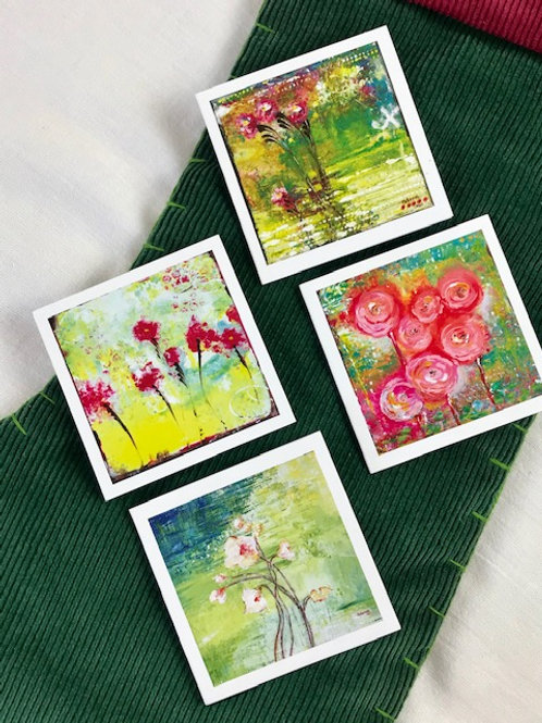 """Floral Notecards 4 pack variety 3"""" x 3"""""""