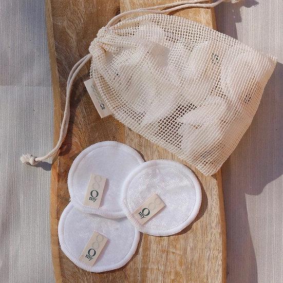 12 cottons réutilisables en bambou + pochette de lavage