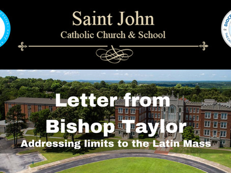 Bishop Taylor addresses limits to the Latin Mass