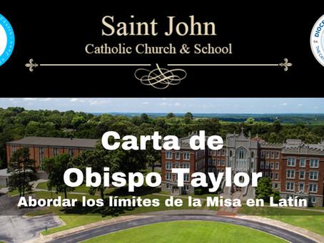 Obispo Taylor aborda límites para Misa en Latín