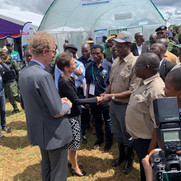 Finnish and Swedish Ambassadors Suomela-Chowdhury and Cederin welcoming H.E. Edgar Lungu to the Nordic Pavilion at the 2019 AgriTech Expo