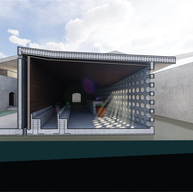 Because of the certainty of water and the proximity to the Orleans Canal, I wanted the spaces to be able to take on water and return to operation shortly after the water rescinds. Chapel and Committal Room features are built in and uniform with the concrete construction of the overall space