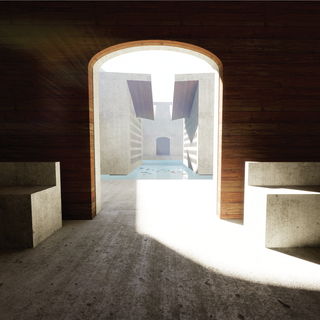 The committal rooms are connected to the small chapels by an elevated walkway. From the small chapels, moments such as these allow for a visual connection and understanding of the funerary procession as well as moments of reflection for guests.