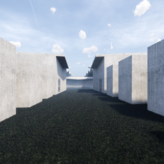 The monoliths in the columbarium garden and the entry buildings on the southern end of the site, frame the small chapel and create a promenade which lends to the sequence of spaces throughout the funerary process.