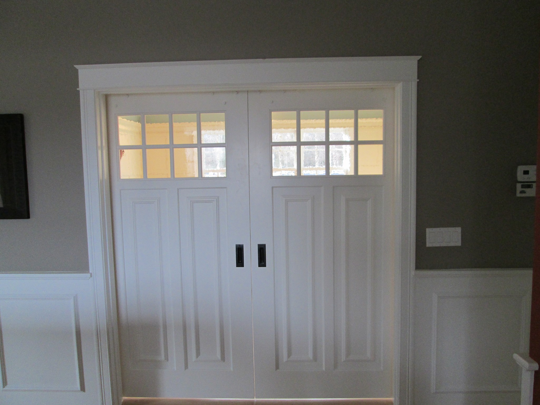 Front side of interior sliding doors