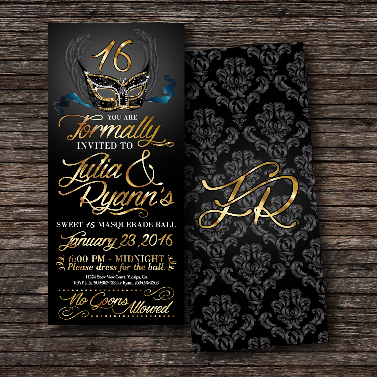 Sweet 16 Masquerade Ball Invitation.