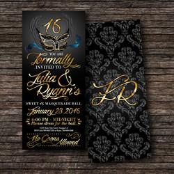 Sweet 16 Masquerade Ball Invitation.