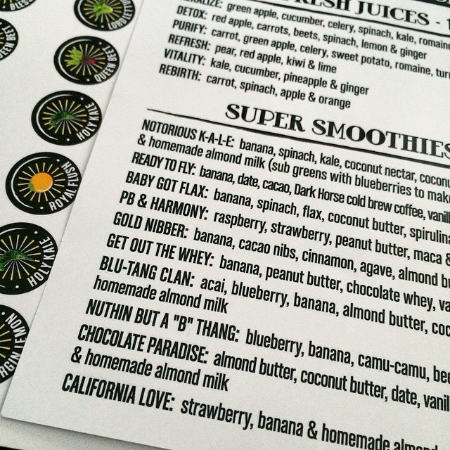 Sacred Juice Co., Menu.