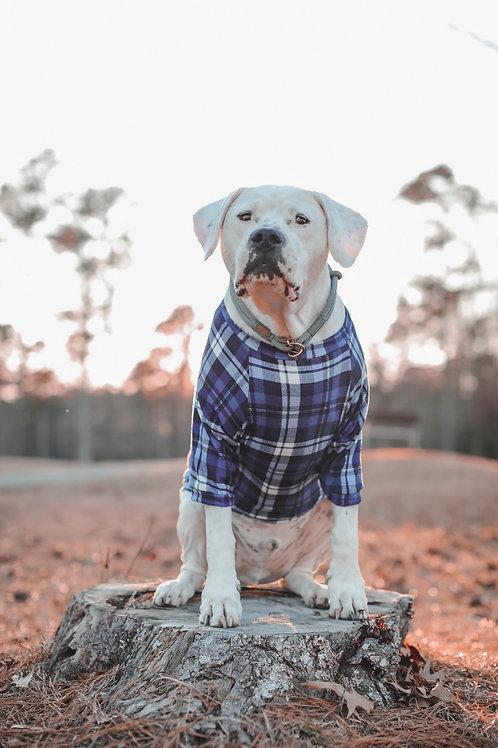 Blue Tartan Dog Shirt and Adult Pajamas