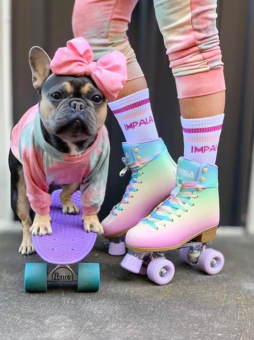 Pink and Sage Tie Dye Dog Shirt and Adult Pajamas