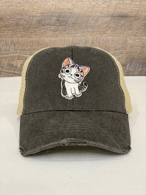Vintage Distressed Trucker Hat for Cat Lovers