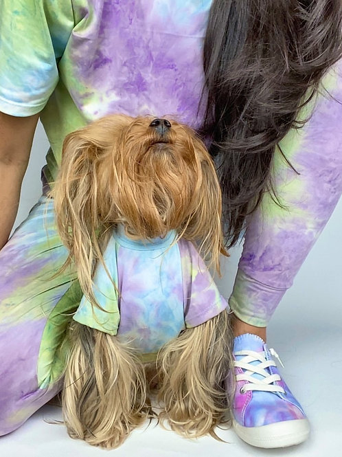 Purple, Mint and Blue Tie Dye Shirt and Matching Adult Jogger and Top