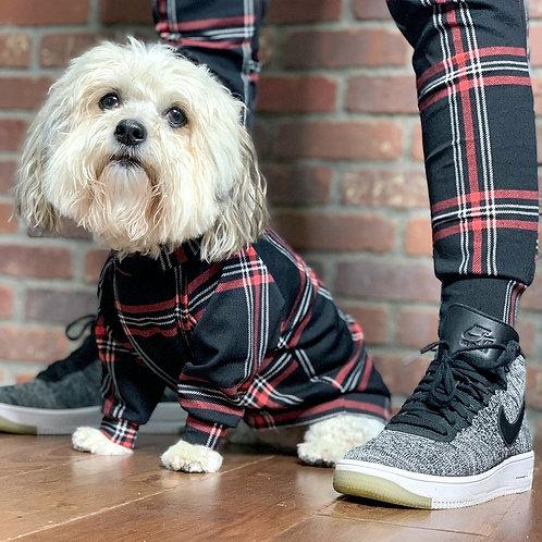 Long Sleeve Plaid Dog Shirt and Adult Joggers