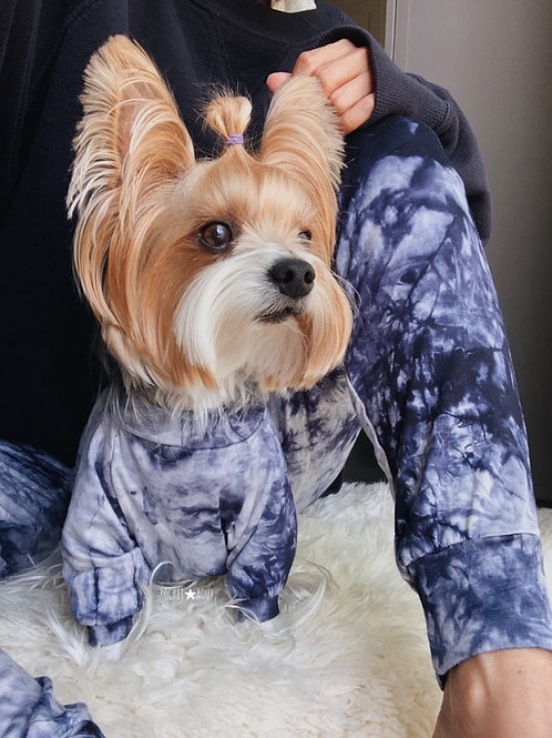 Long Sleeve Tie Dye Dog Shirt and Adult Joggers