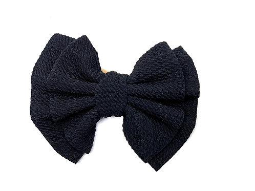 Black Nylon Bow Headband