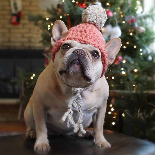 Clay and Oatmeal Crocheted Dog Beanie with Pom Pom
