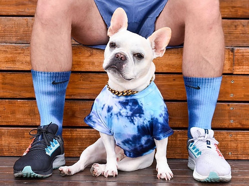 Blue Tie Dye Dog Shirt and Nike Socks
